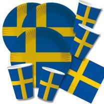 60-teiliges Party-Set Schweden - Teller Becher Servietten...