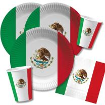 40-teiliges Party-Set Mexiko - Teller Becher Servietten...