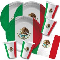 60-teiliges Party-Set Mexiko - Teller Becher Servietten...