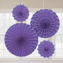 4 Deko-Fächer mit Glitter - Auswahl lila