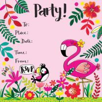 Flamingo Einladungskarte + Umschlag, 8 Stück