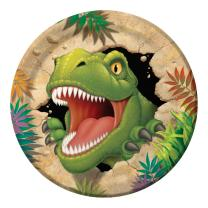 Dinosaurier - Dino Alarm  -  Pappteller, 8 Stück 23 cm