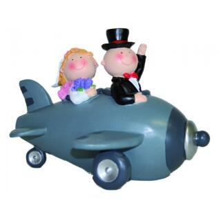 Spardose - Hochzeitspaar im Flugzeug 18 cm