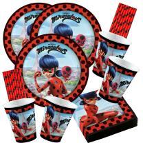 68-teiliges Party-Set Miraculous Ladybug - Teller Becher...