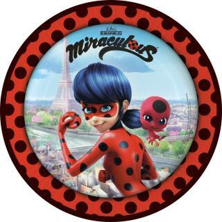 68-teiliges Party-Set Miraculous Ladybug - Teller Becher Servietten Trinkhalme für 16 Kinder