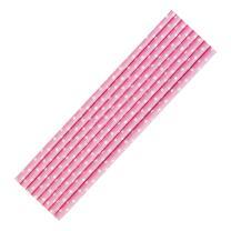 8 Papiertrinkhalme rosa-weiß  gepunktet