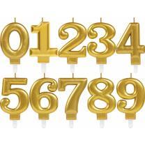 Zahlenkerze Kuchenkerze gold - 8 cm -  mit Steckfuß...