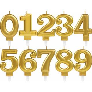 Zahlenkerze Kuchenkerze gold - 8 cm -  mit Steckfuß - Auswahl