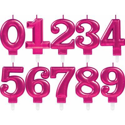 Zahlenkerze Kuchenkerze pink - 8 cm -  mit Steckfuß - Auswahl
