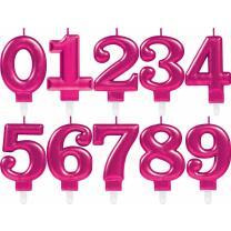 Zahlenkerze Kuchenkerze pink - 8 cm -  mit Steckfuß...