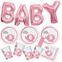 41-teiliges Party Set Baby Elefant rosa - Babyparty -...