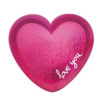 Pappteller Herz, 6 Stück, 20 cm -  Everyday Love