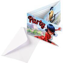 Miraculous Ladybug - 8 Einladungen mit Umschlag