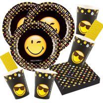 68-teiliges Party-Set Smiley Emoticons - Teller Becher...