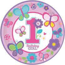 Sweet Birthday Girl - 1. Geburtstag  - 8  Pappteller 23 cm
