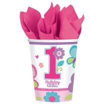 Sweet Birthday Girl - 1. Geburtstag  - 8  Pappbecher 0,25 l
