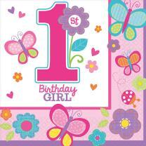 Sweet Birthday Girl - 1. Geburtstag  - 16 Servietten 33 x...