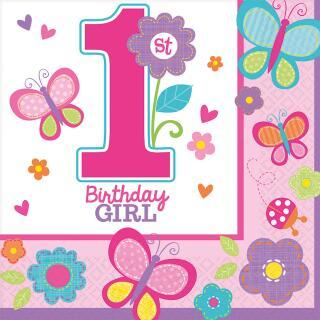 Sweet Birthday Girl - 1. Geburtstag  - 16 Servietten 33 x 33 cm