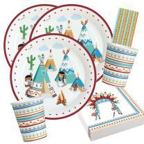 44-teiliges Party-Set - Indianer Tipi & Tomahawk -...