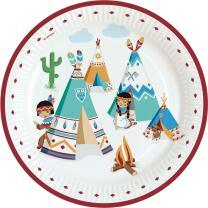 Indianer Tipi & Tomahawk - Pappteller, 8 Stück...