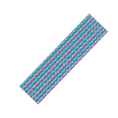 8 Papiertrinkhalme blau-weiß und lila-weiß  gepunktet