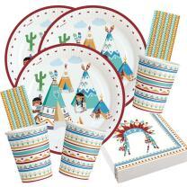 68-teiliges Party-Set - Indianer Tipi & Tomahawk -...
