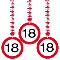 18. Geburtstag Hängedeko Verkehrsschild - 3 Stück