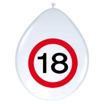18. Geburtstag Luftballons Verkehrsschild - 8 Stück