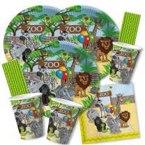 68-teiliges Party-Set - Zoo-Tiere - Teller Becher...
