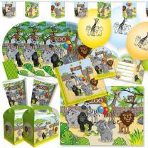 71-teiliges Party-Set - Zoo-Tiere  - Teller Becher...