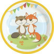 45-teiliges Party-Set Tiere - Fuchs und Biber - Teller...