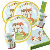 44-teiliges Party-Set Tiere - Fuchs und Biber - Teller...