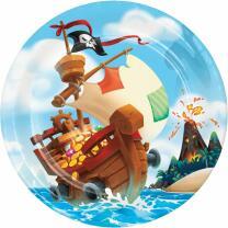 Piratenschiff - Pappteller, 8 Stück 23 cm