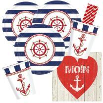 44-teiliges Party-Set maritim - Moin - Teller klein...