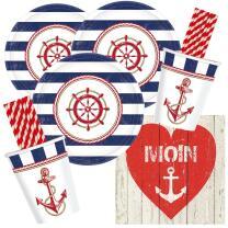 68-teiliges Party-Set maritim - Moin - Teller klein...