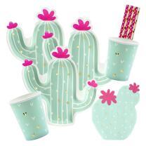 38-teiliges Party-Set - Kaktus - Teller Becher Servietten...