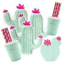 56-teiliges Party-Set - Kaktus - Teller Becher Servietten...