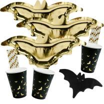56-teiliges Party-Set Halloween Fledermaus - Teller...