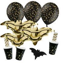 62-teiliges Party-Set Halloween Fledermaus - Teller...