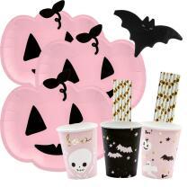 56-teiliges Party-Set Halloween Kürbis Fledermaus -...