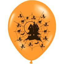 Halloween - Hexenhaus - Luftballons in pastel orange, 6...