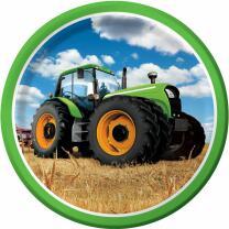 Traktor  -  Pappteller, 8 Stück 23 cm