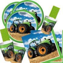64-teiliges Party-Set Traktor - Teller Becher Servietten...