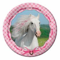 weisses Pferd - Pappteller, 8 Stück 23 cm