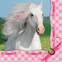 weisses Pferd - Servietten, 16 Stück  33 x 33 cm