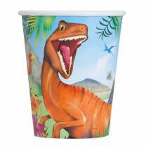 unique Dinosaurier - Pappbecher, 8 Stück 0,26 l