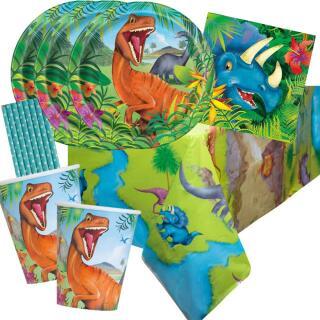 41-teiliges Party-Set Dinosaurier - Teller Becher Servietten Tischdecke Trinkhalme hellblau für 8 Kinder