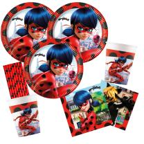 72-teiliges Party-Set Miraculous Ladybug - Teller Becher...