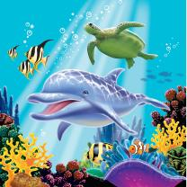 Ozean - Meerestiere - Servietten 33 x 33 cm, 16 Stück