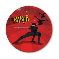 Ninja - Pappteller, 8 Stück  23 cm